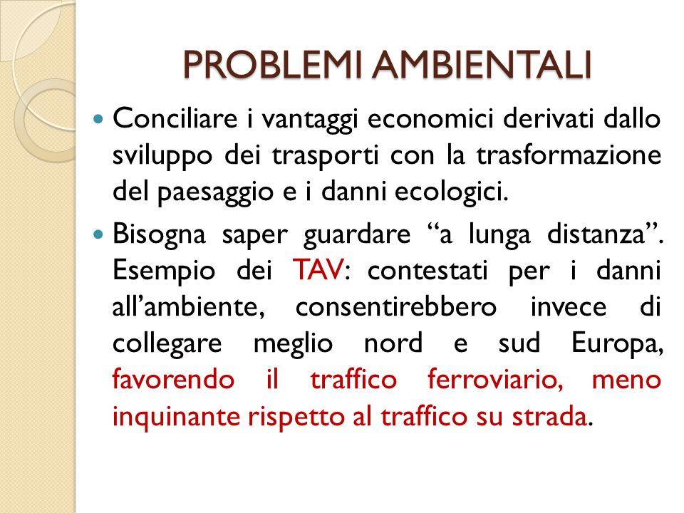PROBLEMI AMBIENTALI Conciliare i vantaggi economici derivati dallo sviluppo dei trasporti con la trasformazione del paesaggio e i danni ecologici.