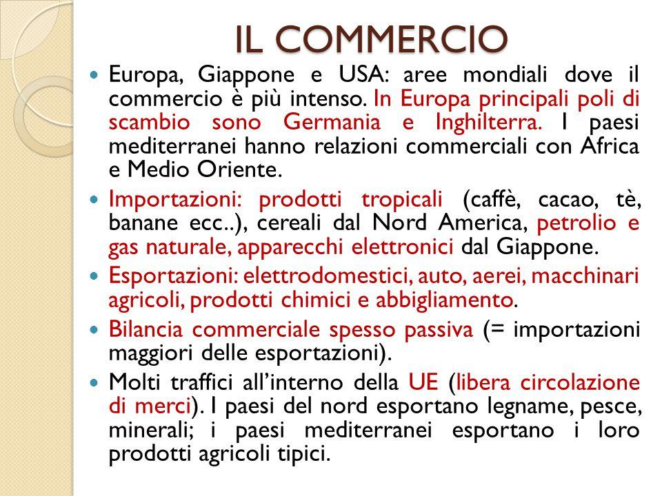 IL COMMERCIO Europa, Giappone e USA: aree mondiali dove il commercio è più intenso. In Europa principali poli di scambio sono Germania e Inghilterra.