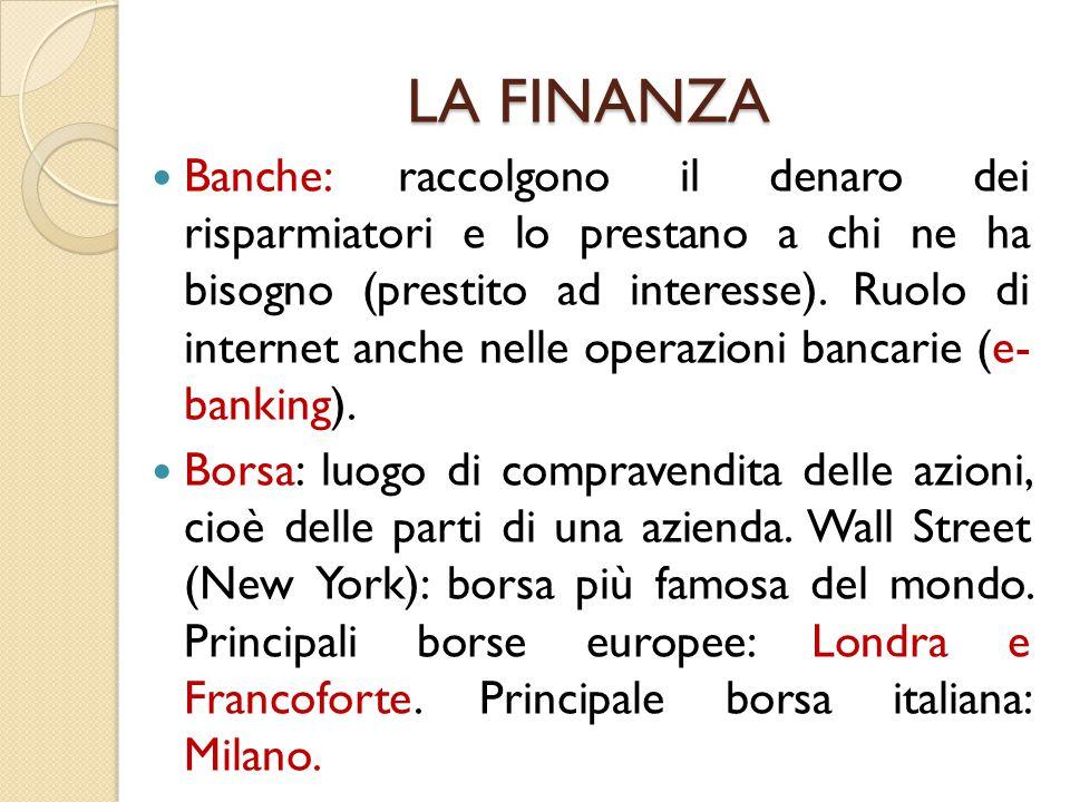 LA FINANZA Banche: raccolgono il denaro dei risparmiatori e lo prestano a chi ne ha bisogno (prestito ad interesse). Ruolo di internet anche nelle ope