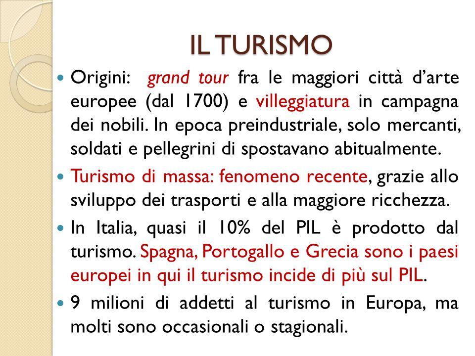 IL TURISMO IL TURISMO Origini: grand tour fra le maggiori città d'arte europee (dal 1700) e villeggiatura in campagna dei nobili.