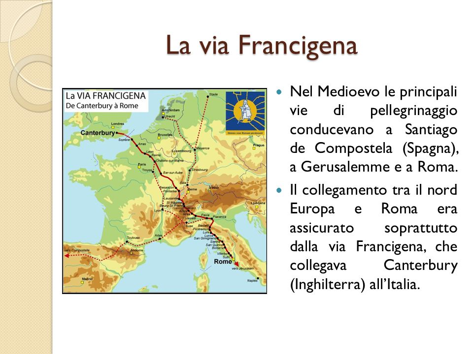 La via Francigena Nel Medioevo le principali vie di pellegrinaggio conducevano a Santiago de Compostela (Spagna), a Gerusalemme e a Roma.