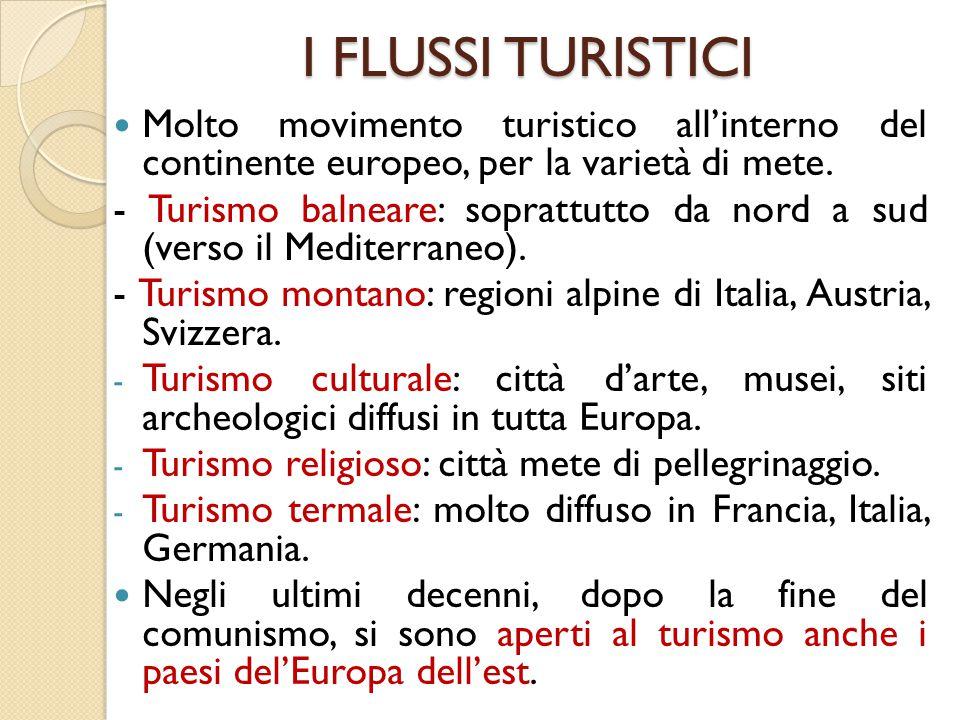 I FLUSSI TURISTICI Molto movimento turistico all'interno del continente europeo, per la varietà di mete. - Turismo balneare: soprattutto da nord a sud