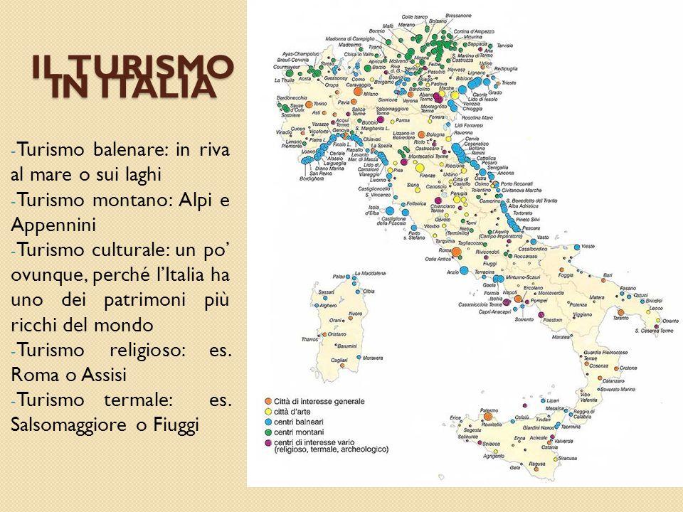 IL TURISMO IN ITALIA - Turismo balenare: in riva al mare o sui laghi - Turismo montano: Alpi e Appennini - Turismo culturale: un po' ovunque, perché l'Italia ha uno dei patrimoni più ricchi del mondo - Turismo religioso: es.