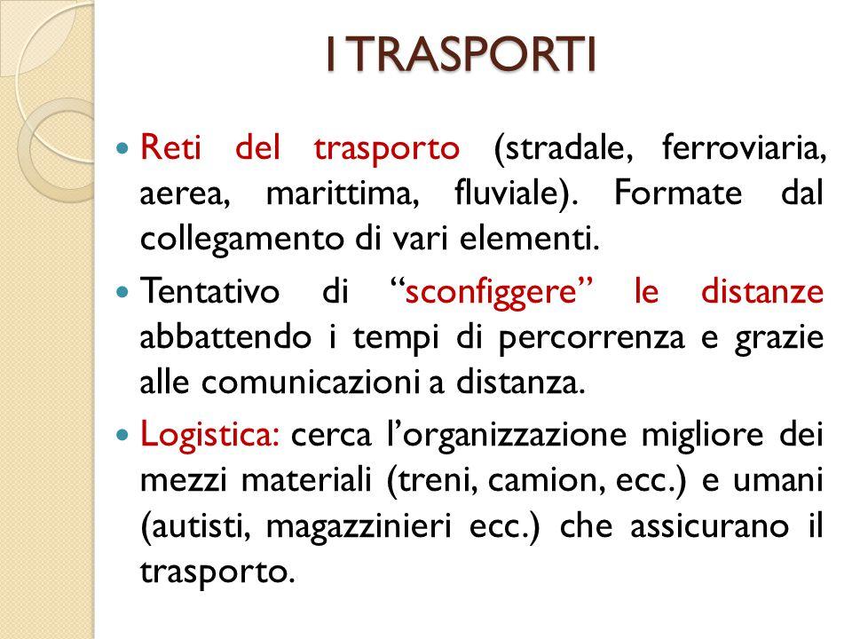 """I TRASPORTI Reti del trasporto (stradale, ferroviaria, aerea, marittima, fluviale). Formate dal collegamento di vari elementi. Tentativo di """"sconfigge"""
