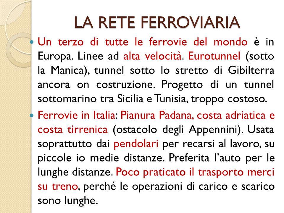 LA RETE FERROVIARIA Un terzo di tutte le ferrovie del mondo è in Europa. Linee ad alta velocità. Eurotunnel (sotto la Manica), tunnel sotto lo stretto