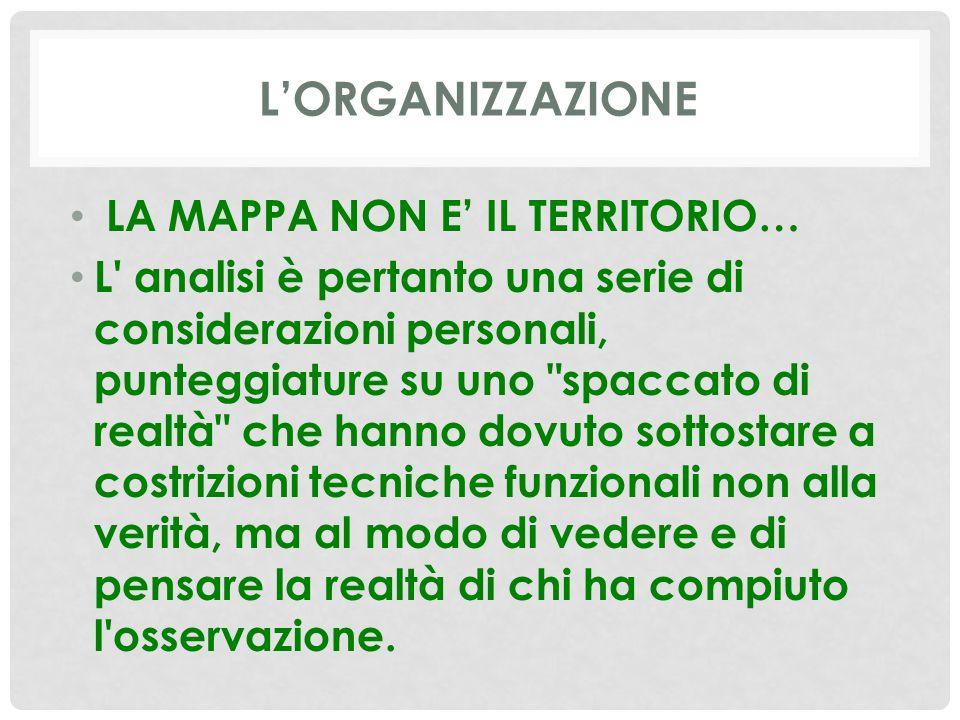 L'ORGANIZZAZIONE LA MAPPA NON E' IL TERRITORIO… L' analisi è pertanto una serie di considerazioni personali, punteggiature su uno
