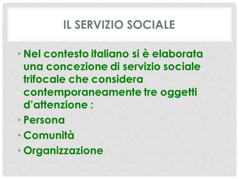 IL SERVIZIO SOCIALE Nel contesto italiano si è elaborata una concezione di servizio sociale trifocale che considera contemporaneamente tre oggetti d'a