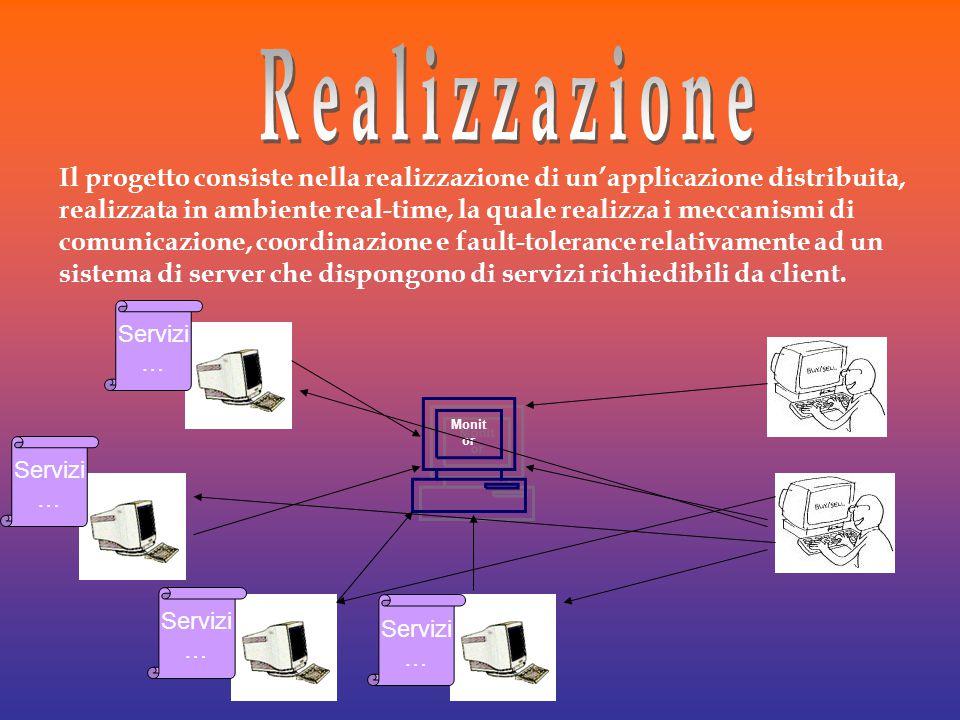 Il progetto consiste nella realizzazione di un'applicazione distribuita, realizzata in ambiente real-time, la quale realizza i meccanismi di comunicazione, coordinazione e fault-tolerance relativamente ad un sistema di server che dispongono di servizi richiedibili da client.