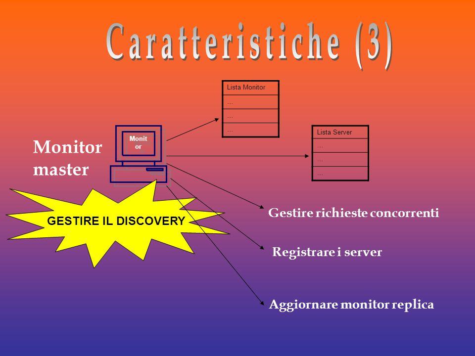 Monit or Monitor master GESTIRE IL DISCOVERY Lista Server … … … Lista Monitor … … … Gestire richieste concorrenti Registrare i server Aggiornare monitor replica