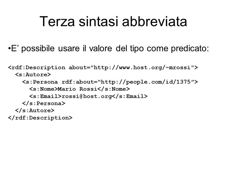 Terza sintasi abbreviata E' possibile usare il valore del tipo come predicato: Mario Rossi rossi@host.org