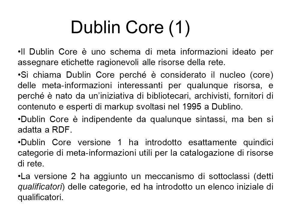 Dublin Core (1) Il Dublin Core è uno schema di meta informazioni ideato per assegnare etichette ragionevoli alle risorse della rete.