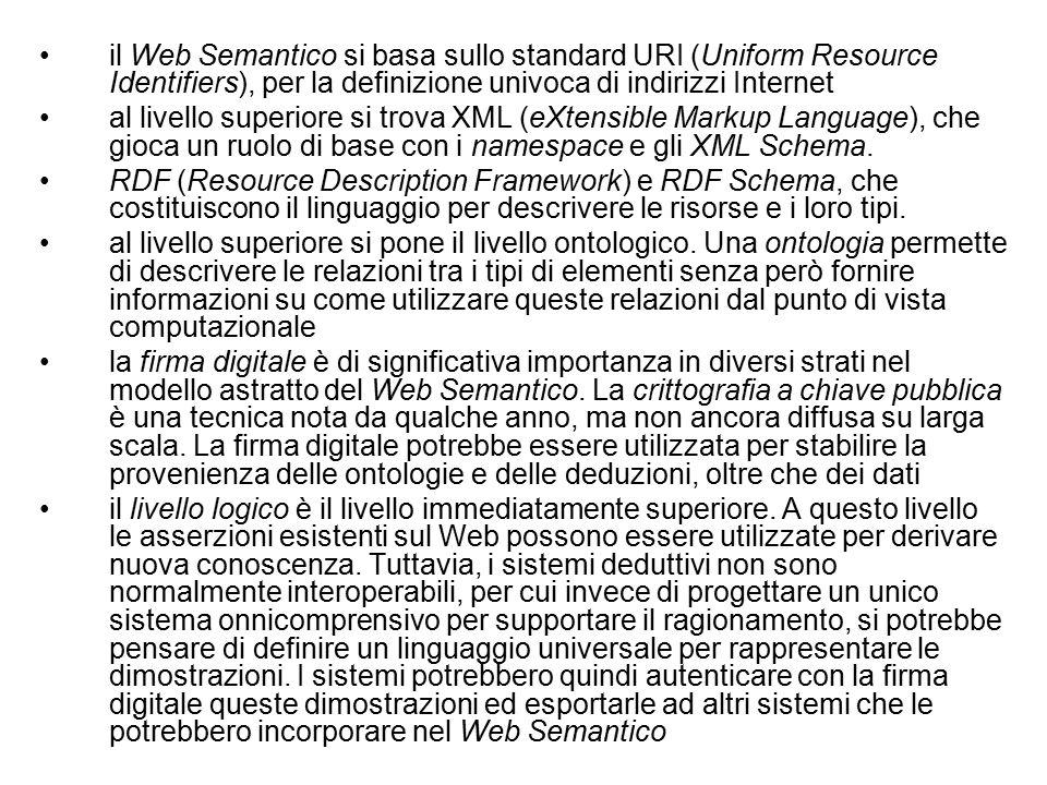 il Web Semantico si basa sullo standard URI (Uniform Resource Identifiers), per la definizione univoca di indirizzi Internet al livello superiore si trova XML (eXtensible Markup Language), che gioca un ruolo di base con i namespace e gli XML Schema.