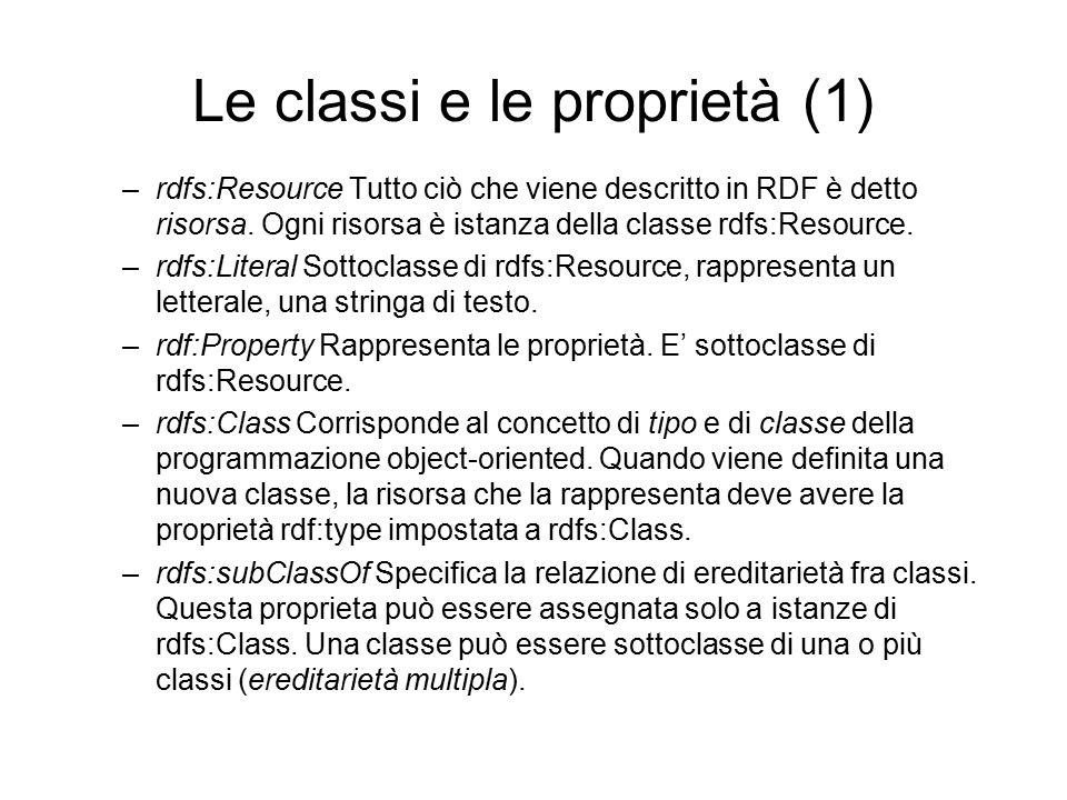 Le classi e le proprietà (1) –rdfs:Resource Tutto ciò che viene descritto in RDF è detto risorsa.