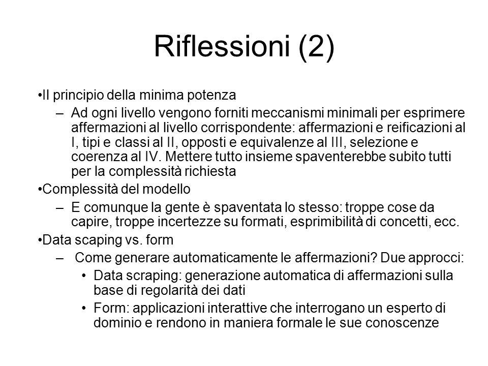 Riflessioni (2) Il principio della minima potenza –Ad ogni livello vengono forniti meccanismi minimali per esprimere affermazioni al livello corrispondente: affermazioni e reificazioni al I, tipi e classi al II, opposti e equivalenze al III, selezione e coerenza al IV.
