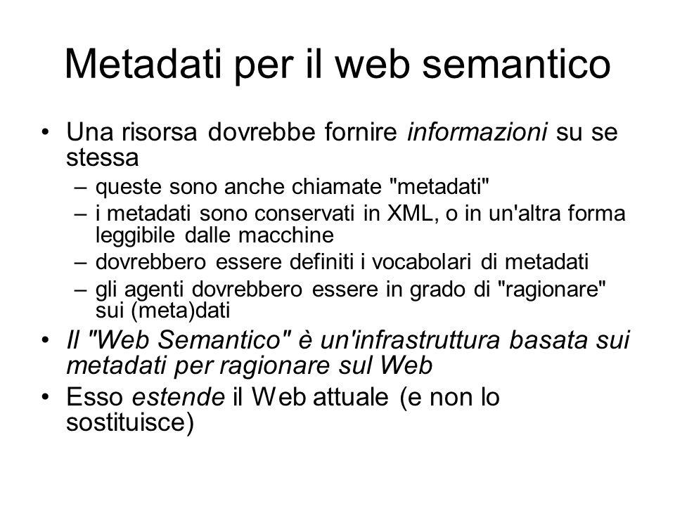 Metadati per il web semantico Una risorsa dovrebbe fornire informazioni su se stessa –queste sono anche chiamate metadati –i metadati sono conservati in XML, o in un altra forma leggibile dalle macchine –dovrebbero essere definiti i vocabolari di metadati –gli agenti dovrebbero essere in grado di ragionare sui (meta)dati Il Web Semantico è un infrastruttura basata sui metadati per ragionare sul Web Esso estende il Web attuale (e non lo sostituisce)