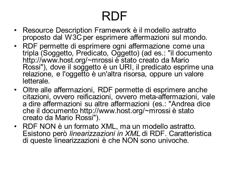RDF schema In RDF ogni predicato è astratto, senza connessioni né riferimenti, senza relazione con altri predicati.