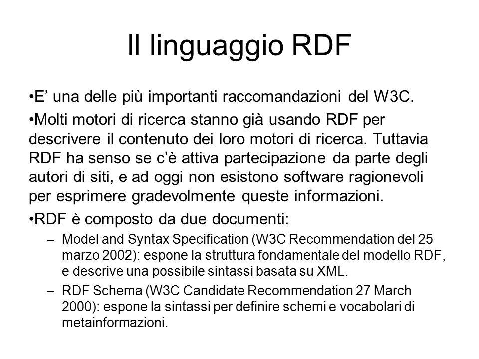 Il modello di RDF Il modello di RDF è basato su tre concetti: –Risorse: tutto ciò che viene descritto.