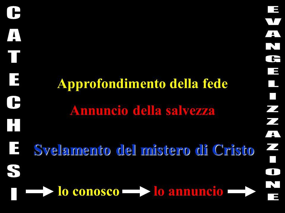 Approfondimento della fede Annuncio della salvezza Svelamento del mistero di Cristo lo conoscolo annuncio