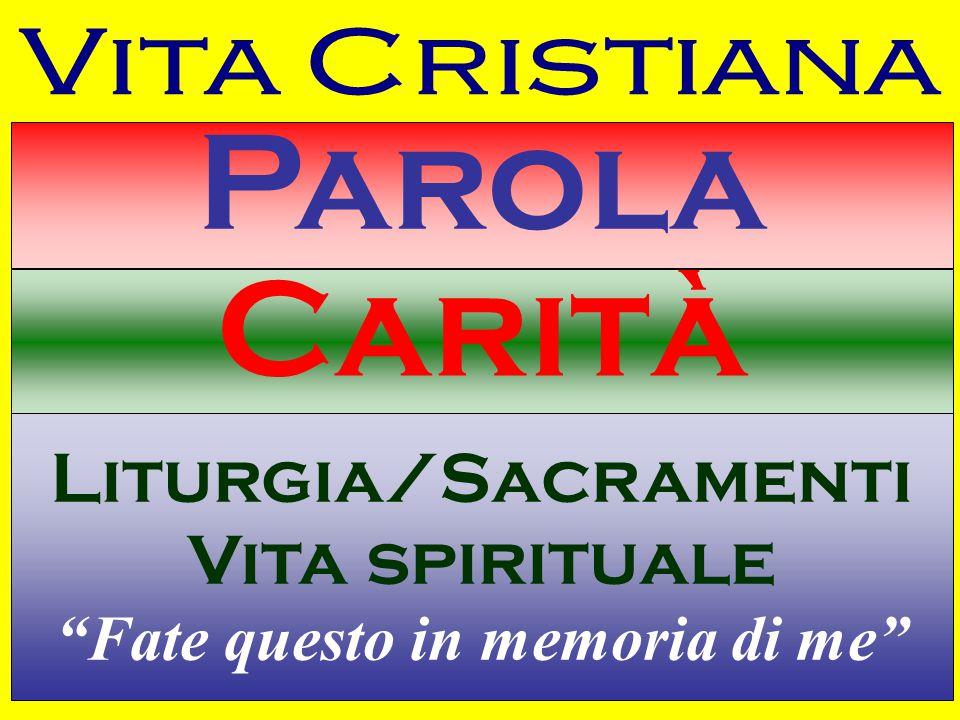 Parola Carità Liturgia/Sacramenti Vita spirituale