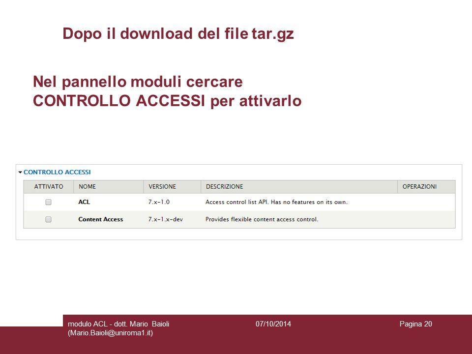 Dopo il download del file tar.gz 07/10/2014modulo ACL - dott.