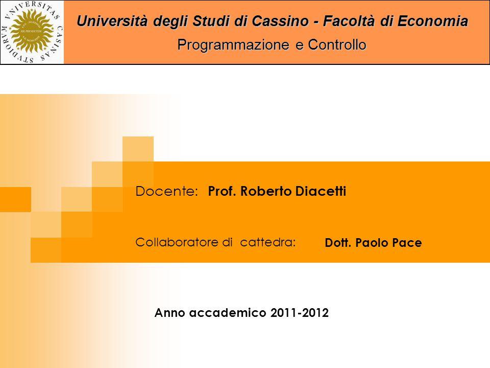 Università degli Studi di Cassino - Facoltà di Economia Programmazione e Controllo Collaboratore di cattedra: Dott.