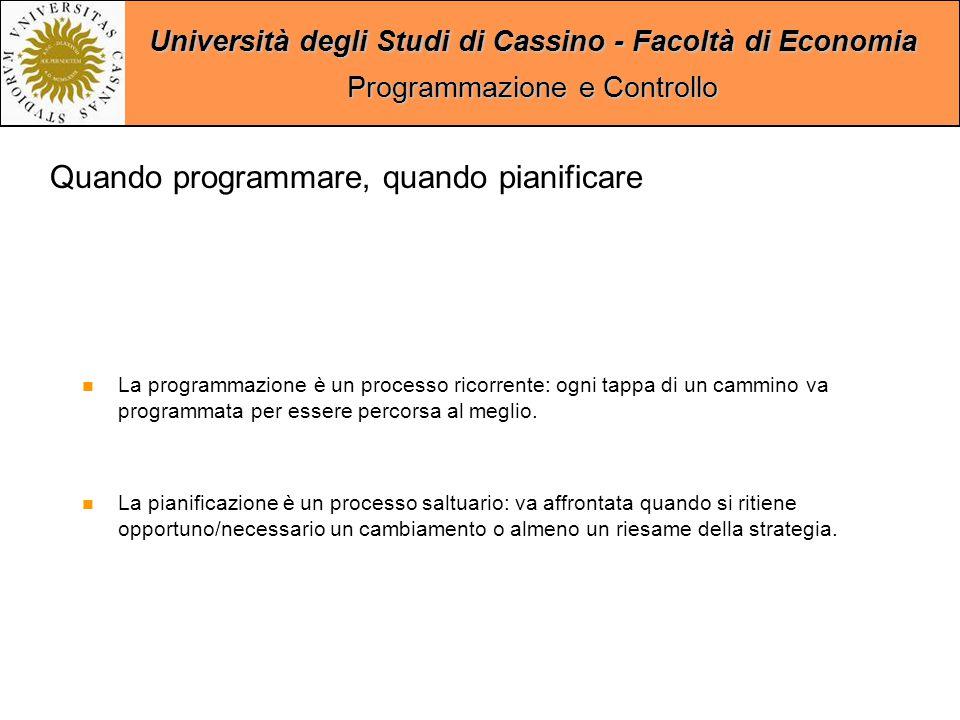 Università degli Studi di Cassino - Facoltà di Economia Programmazione e Controllo Quando programmare, quando pianificare La programmazione è un processo ricorrente: ogni tappa di un cammino va programmata per essere percorsa al meglio.