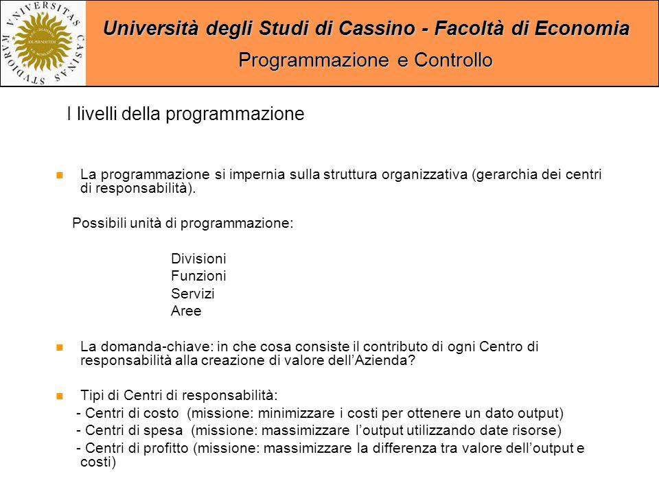 Università degli Studi di Cassino - Facoltà di Economia Programmazione e Controllo La programmazione si impernia sulla struttura organizzativa (gerarchia dei centri di responsabilità).