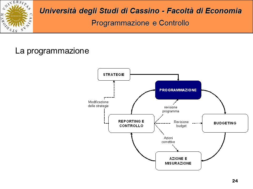 Università degli Studi di Cassino - Facoltà di Economia Programmazione e Controllo 24 La programmazione