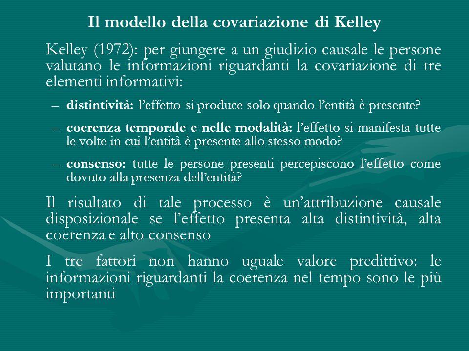 Il modello della covariazione di Kelley Kelley (1972): per giungere a un giudizio causale le persone valutano le informazioni riguardanti la covariazi