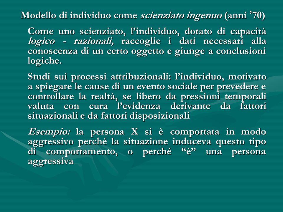 Modello di individuo come scienziato ingenuo (anni ' 70) Modello di individuo come scienziato ingenuo (anni ' 70) Come uno scienziato, l'individuo, do