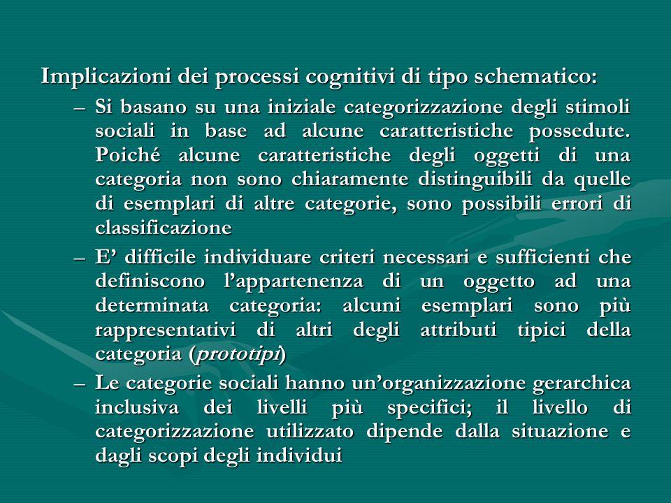 Implicazioni dei processi cognitivi di tipo schematico: –Si basano su una iniziale categorizzazione degli stimoli sociali in base ad alcune caratteris