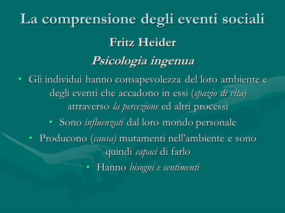 La comprensione degli eventi sociali Fritz Heider Psicologia ingenua Gli individui hanno consapevolezza del loro ambiente e degli eventi che accadono