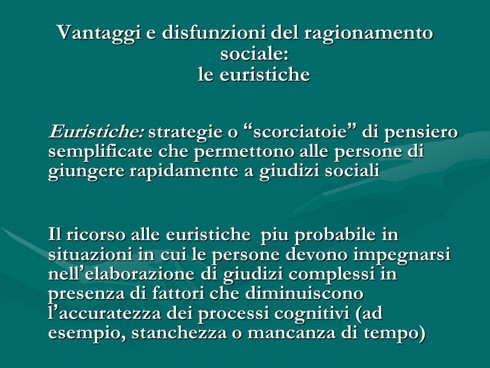 """Vantaggi e disfunzioni del ragionamento sociale: le euristiche Euristiche: strategie o """" scorciatoie """" di pensiero semplificate che permettono alle pe"""