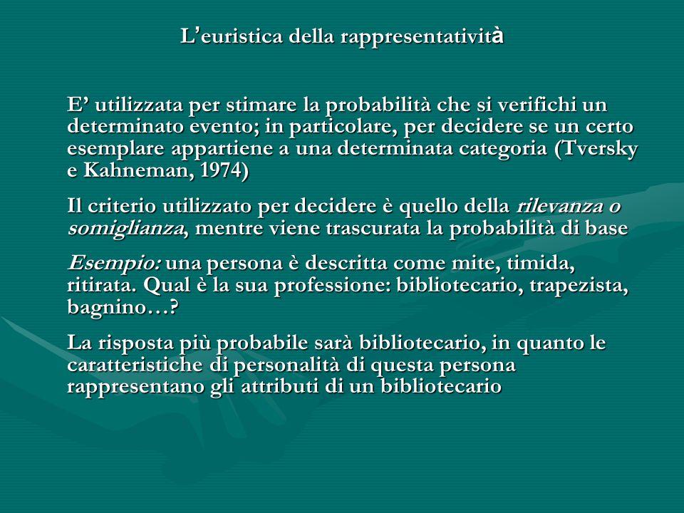 L ' euristica della rappresentativit à E' utilizzata per stimare la probabilità che si verifichi un determinato evento; in particolare, per decidere s
