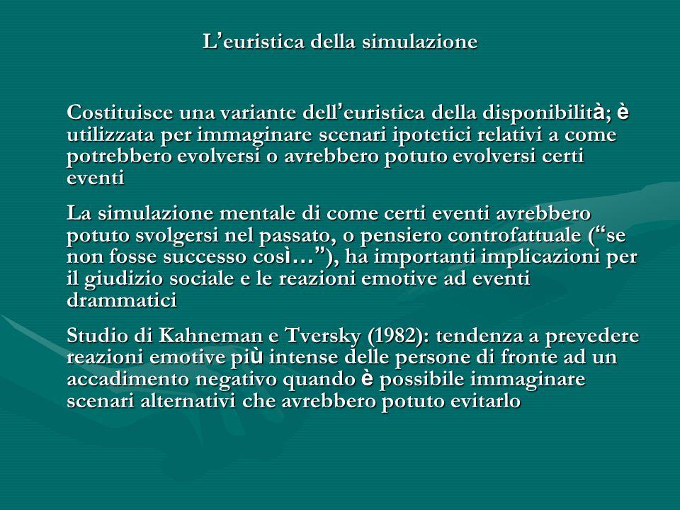 L ' euristica della simulazione Costituisce una variante dell ' euristica della disponibilit à ; è utilizzata per immaginare scenari ipotetici relativ