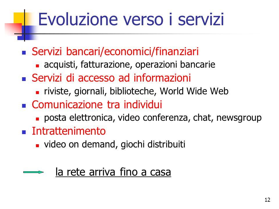12 Evoluzione verso i servizi Servizi bancari/economici/finanziari acquisti, fatturazione, operazioni bancarie Servizi di accesso ad informazioni rivi
