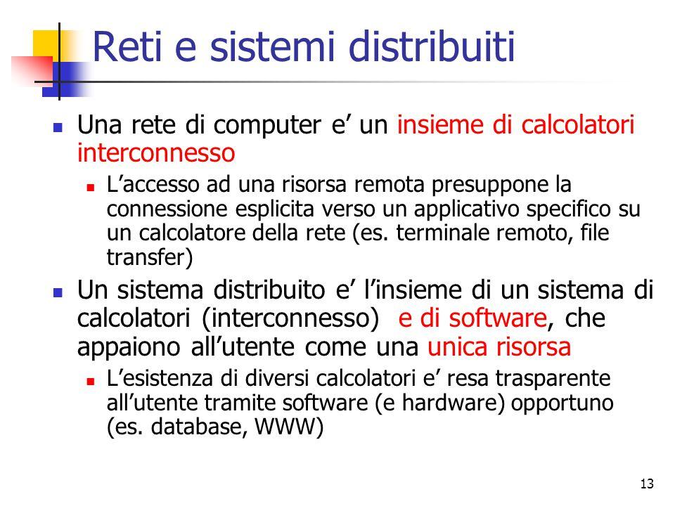 13 Reti e sistemi distribuiti Una rete di computer e' un insieme di calcolatori interconnesso L'accesso ad una risorsa remota presuppone la connessione esplicita verso un applicativo specifico su un calcolatore della rete (es.