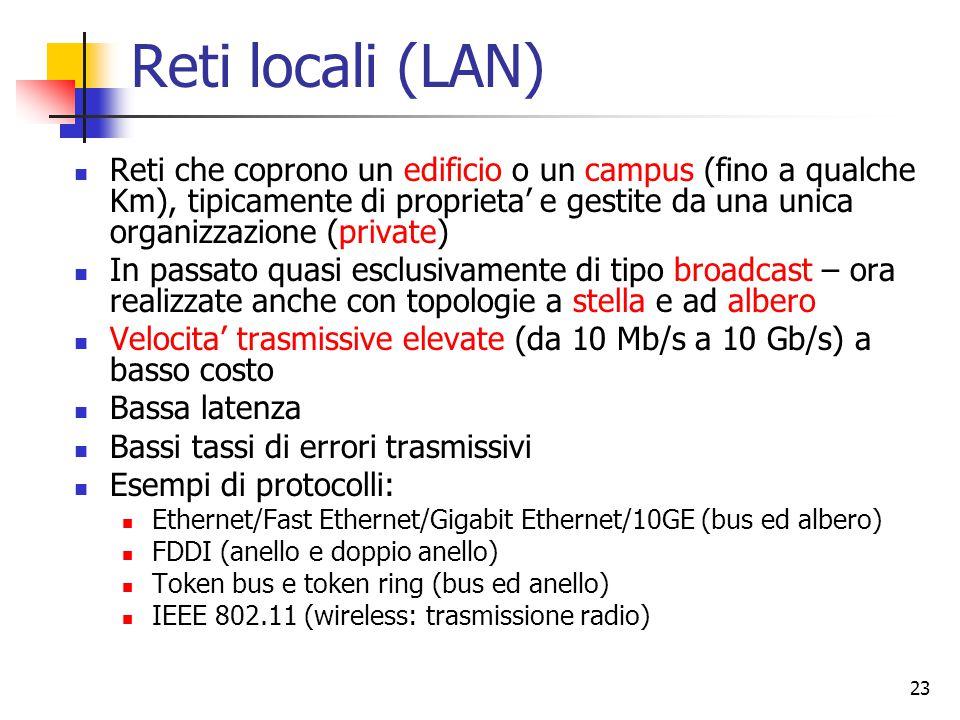 23 Reti locali (LAN) Reti che coprono un edificio o un campus (fino a qualche Km), tipicamente di proprieta' e gestite da una unica organizzazione (private) In passato quasi esclusivamente di tipo broadcast – ora realizzate anche con topologie a stella e ad albero Velocita' trasmissive elevate (da 10 Mb/s a 10 Gb/s) a basso costo Bassa latenza Bassi tassi di errori trasmissivi Esempi di protocolli: Ethernet/Fast Ethernet/Gigabit Ethernet/10GE (bus ed albero) FDDI (anello e doppio anello) Token bus e token ring (bus ed anello) IEEE 802.11 (wireless: trasmissione radio)