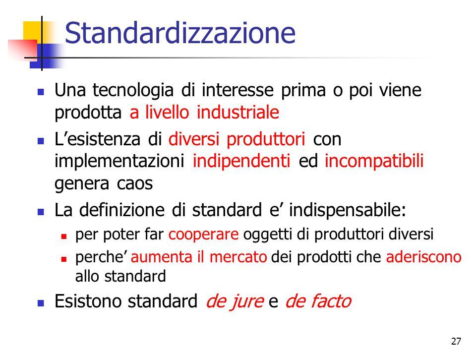 27 Standardizzazione Una tecnologia di interesse prima o poi viene prodotta a livello industriale L'esistenza di diversi produttori con implementazion