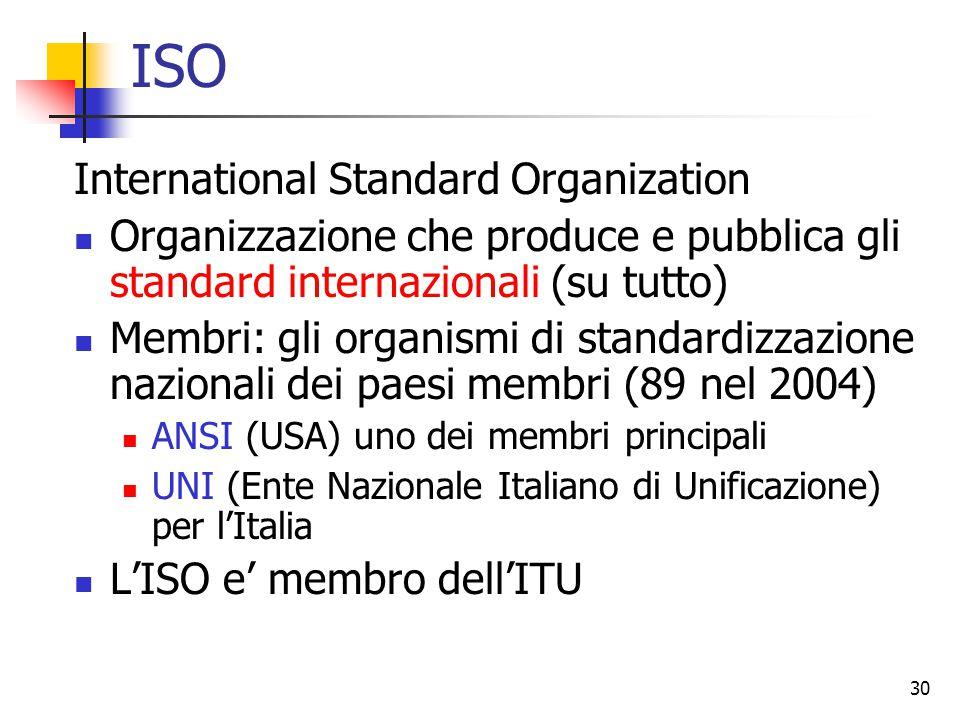 30 ISO International Standard Organization Organizzazione che produce e pubblica gli standard internazionali (su tutto) Membri: gli organismi di standardizzazione nazionali dei paesi membri (89 nel 2004) ANSI (USA) uno dei membri principali UNI (Ente Nazionale Italiano di Unificazione) per l'Italia L'ISO e' membro dell'ITU