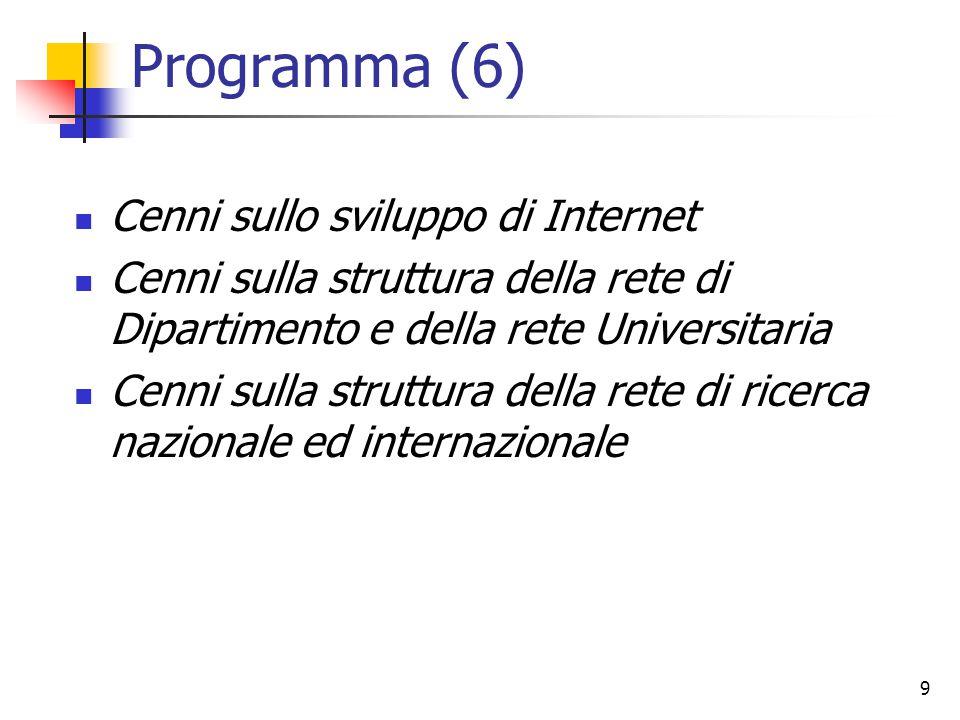 9 Programma (6) Cenni sullo sviluppo di Internet Cenni sulla struttura della rete di Dipartimento e della rete Universitaria Cenni sulla struttura della rete di ricerca nazionale ed internazionale