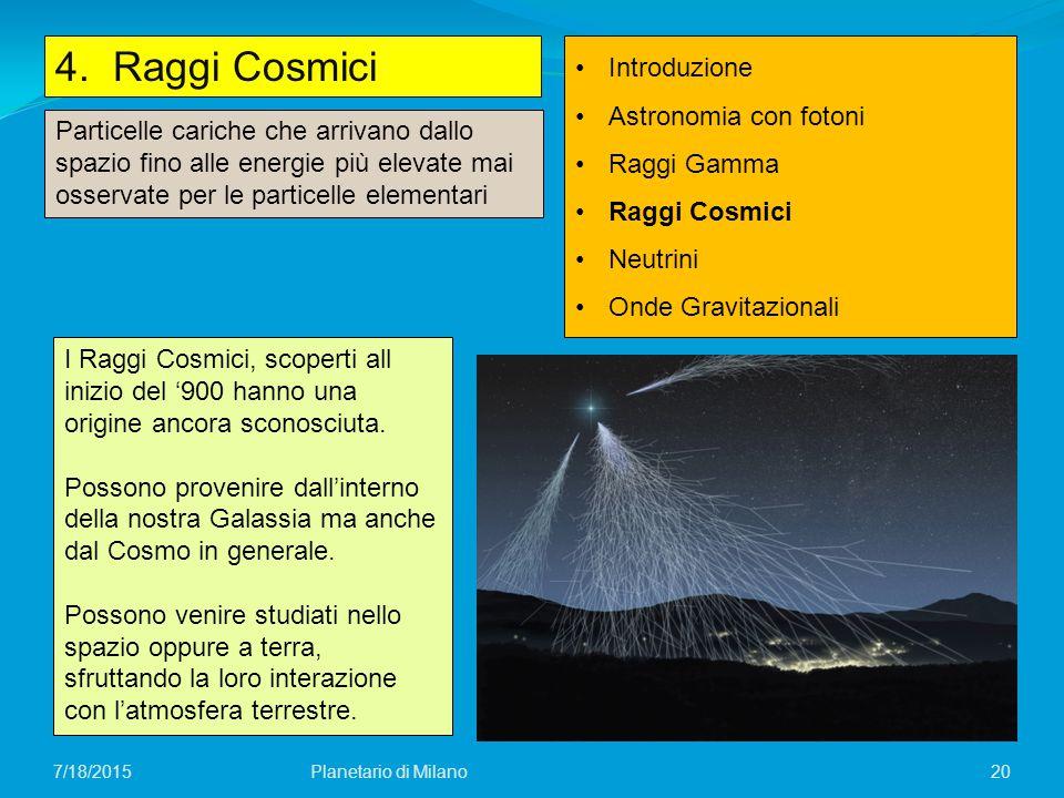 20 4. Raggi Cosmici Planetario di Milano7/18/2015 Introduzione Astronomia con fotoni Raggi Gamma Raggi Cosmici Neutrini Onde Gravitazionali Particelle