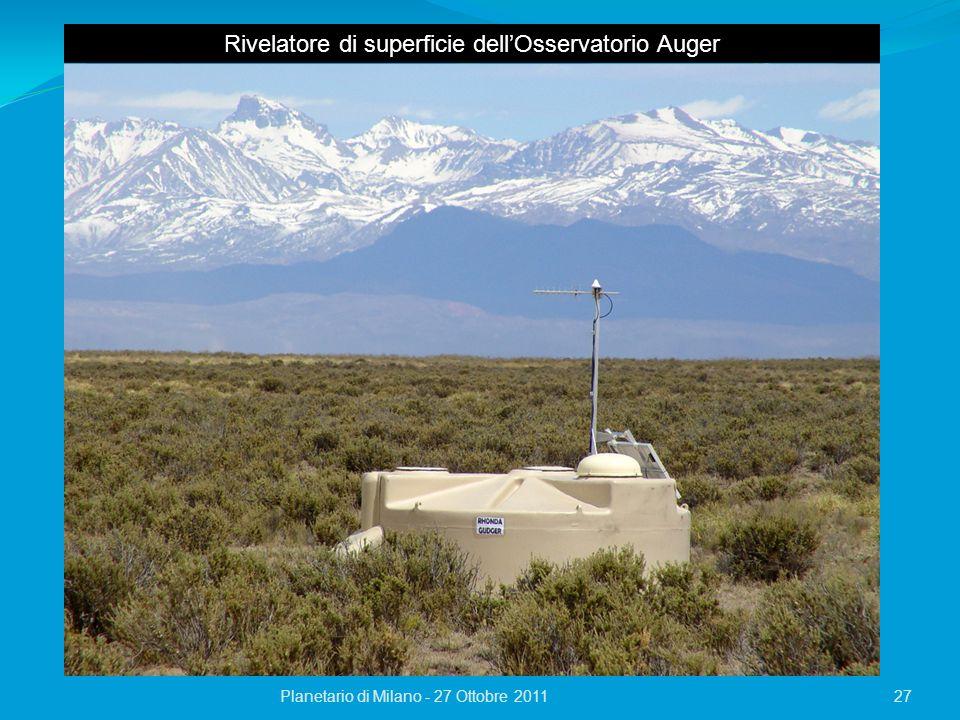 27Planetario di Milano - 27 Ottobre 2011 Rivelatore di superficie dell'Osservatorio Auger