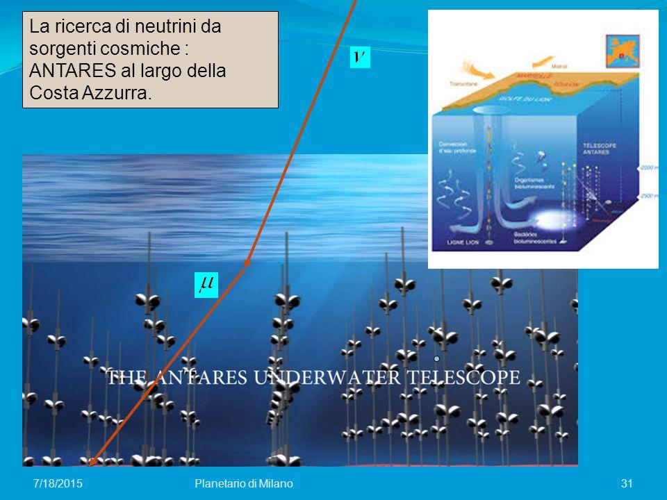 31Planetario di Milano7/18/2015 La ricerca di neutrini da sorgenti cosmiche : ANTARES al largo della Costa Azzurra.