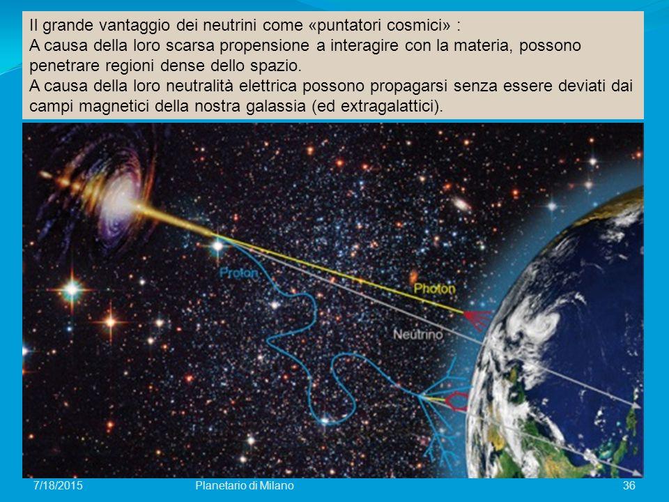 36Planetario di Milano7/18/2015 Il grande vantaggio dei neutrini come «puntatori cosmici» : A causa della loro scarsa propensione a interagire con la materia, possono penetrare regioni dense dello spazio.
