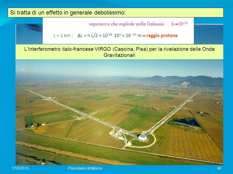 40Planetario di Milano7/18/2015 Si tratta di un effetto in generale debolissimo: L'Interferometro italo-francese VIRGO (Cascina, Pisa) per la rivelazi