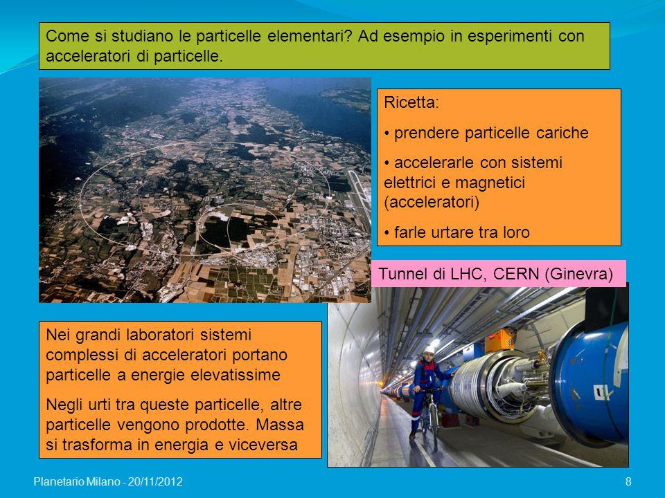 Planetario Milano - 20/11/2012 8 Come si studiano le particelle elementari? Ad esempio in esperimenti con acceleratori di particelle. Tunnel di LHC, C