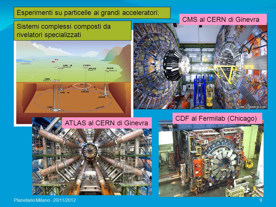Planetario Milano - 20/11/2012 9 Esperimenti su particelle ai grandi acceleratori: CMS al CERN di Ginevra CDF al Fermilab (Chicago) Sistemi complessi
