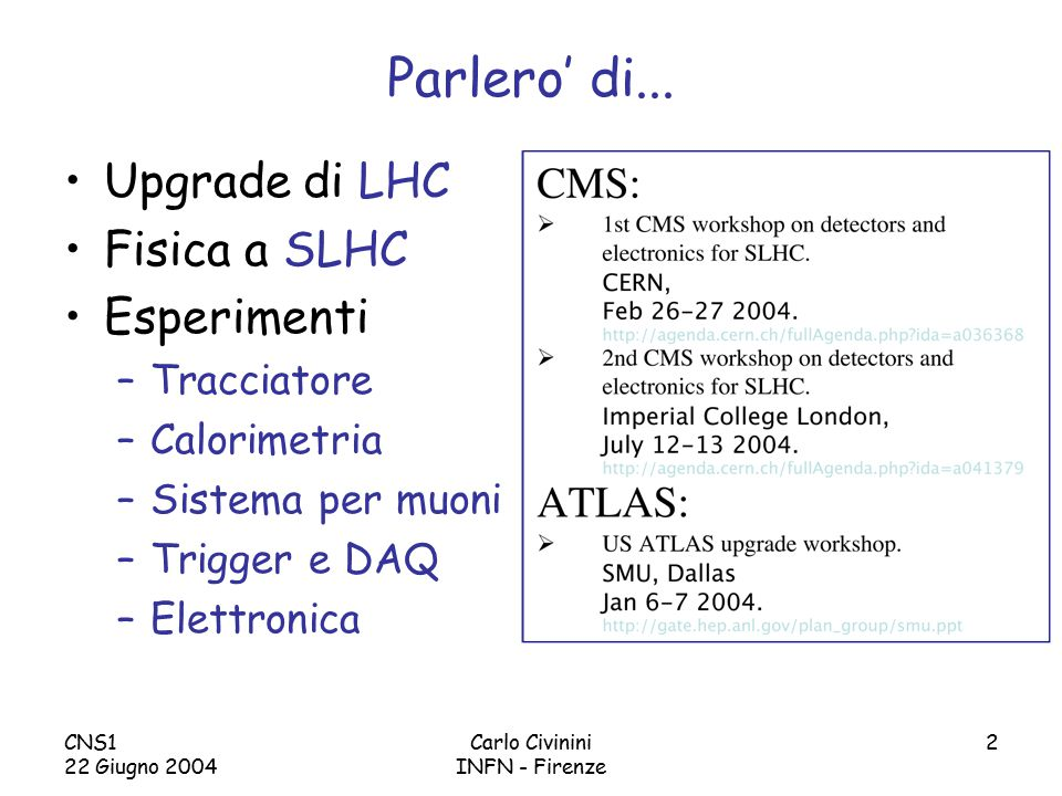 CNS1 22 Giugno 2004 Carlo Civinini INFN - Firenze 63 Occupazione MDT, CSC (Atlas) L ~ 5X Bkg @ 10 34 cm -2 s -1 MDT & CSC Occupancy (%) Nominal Bkg ~ acceptable 5X larger Bkg very uncomfortable Something has to done 1x bkg 5x bkg ?