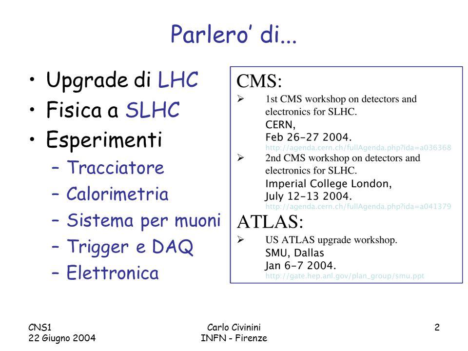 CNS1 22 Giugno 2004 Carlo Civinini INFN - Firenze 13 Upgrade dei rivelatori per SLHC Per sfruttare pienamente le potenzialita' di SLHC agli esperimenti viene chiesto di: Essere capaci di 'triggerare' sui canali gia' noti e su tipologie che sono collegate a possibili scoperte Avere, in molti casi, prestazioni simili a quelle ottenute alla luminosita' di 10 34 cm -2 s -1 In poche parole: Gli upgrade saranno 'semplici' per canali che coinvolgono: jets di alta energia, , E T miss elevata Ma molto impegnativi per sfruttare completamente l'alta luminosita' in caso di: e  ID, b-tag,  -tag, forward jet tagging (?)
